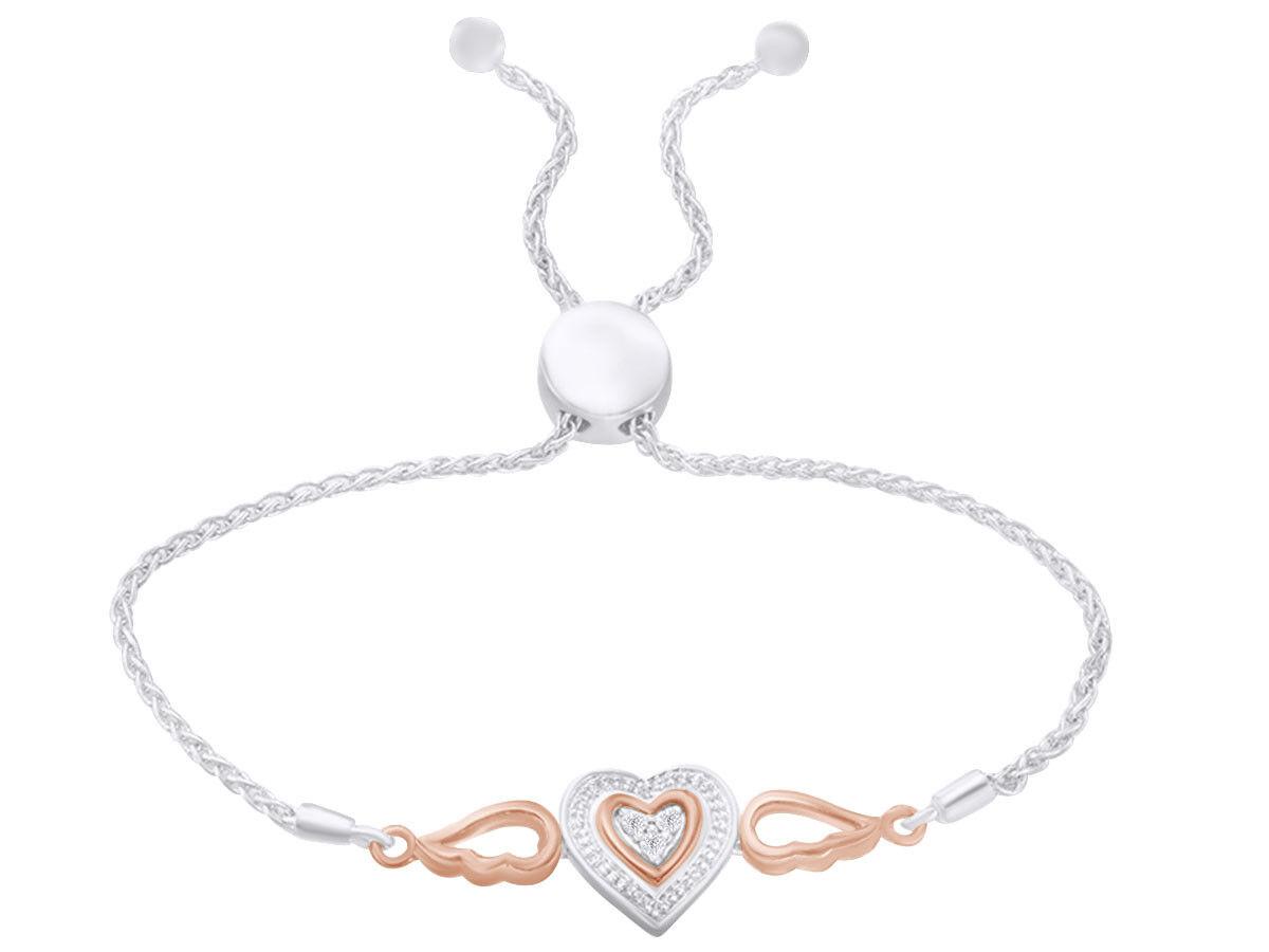 0.06 CTW Natural Diamond Accent Double Heart Bolo Bracelet