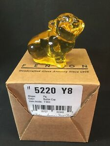 Fenton-Art-Glass-Buttercup-Pig-In-Original-Box
