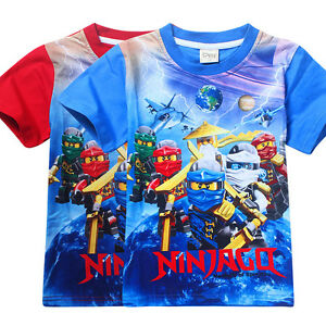 Newest-Kids-Boys-NINJA-GO-Casual-Cartoon-T-shirts-Tops-Leisure-Shirts-3-8Years