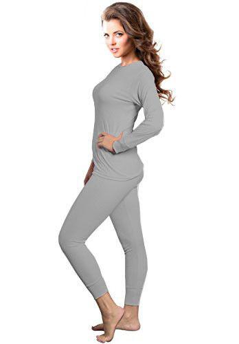 Womens 2pc Microfiber Thermal Underwear Set Long Johns Top /& Bottom Gray 2XL