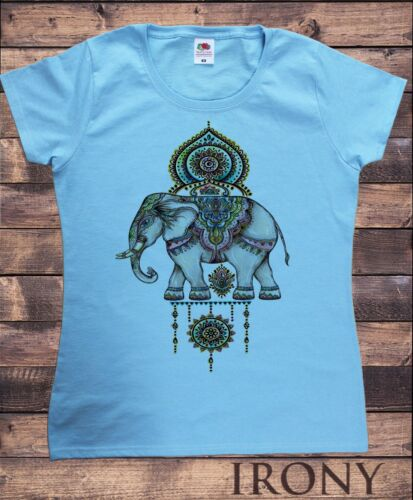 Womens T-Shirt,Ethnic Indian Elephant,Decorative Colourful  Print TS1524