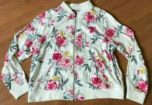 b33887a3a8e NWT TORRID IVORY FLORAL TWILL BOMBER JACKET FULL ZIP POCKETS PINK ...