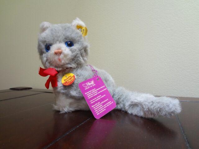70s Steiff 3521 Snuffy Blue Eyed Grey White Cat Kitten Kitty Stuffed