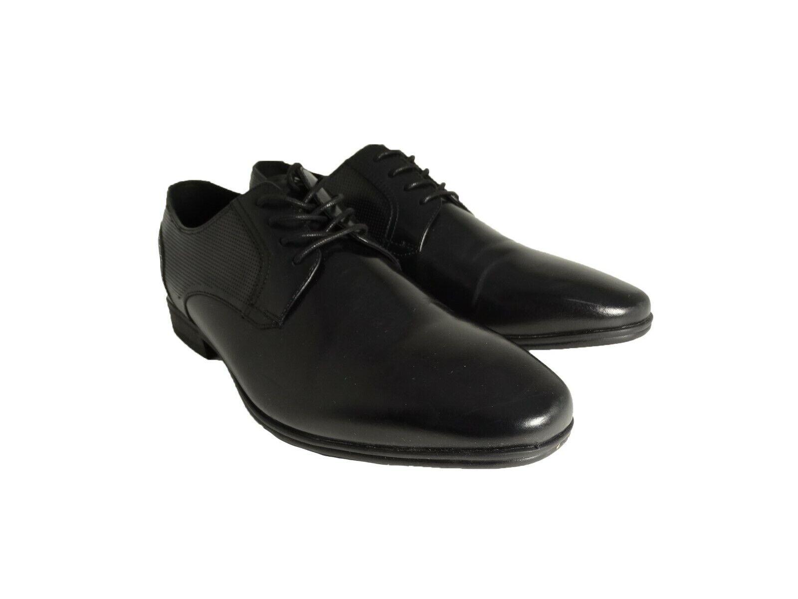 Kenneth Cole Reaction Men's Min Plain-Toe Oxfords Leather Black SZ 9M-US