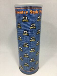 Vintage-Pringles-Can-Empty-w-Lid-Country-Style-Potato-Chips-Denim-Look-Can
