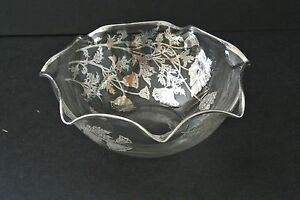 "Vintage Floral Silver Overlay on Glass Ruffled 6"" Serving Bowl"