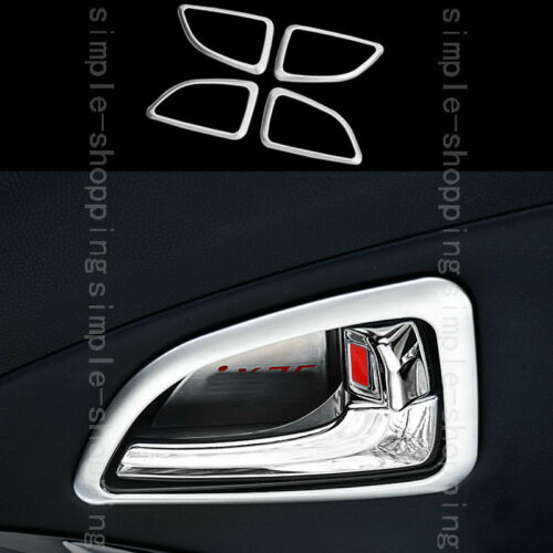 4x Chrome Inner Door Handle Bowl Frame Cover Trim For Hyundai Tucson ix35 10-15