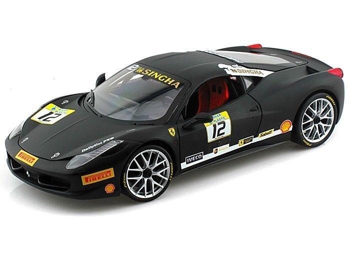 grandes precios de descuento Hot Wheels Ferrari 458 Challenge Racing   12 Negro Negro Negro 1 18 Diecast Coche Model bct90  Venta barata
