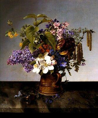 BOUQUET OF GARDEN FLOWERS IN PITCHER STILL LIFE PAINTING BY JOHANN PREYER REPRO