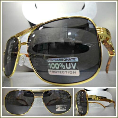 Men/'s CLASSY VINTAGE RETRO Style SUN GLASSES Gold /& Wood Wooden Frame Dark Lens