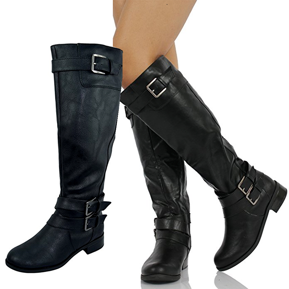 Women Knee High Buckled Horse Motorcycle Riding Military Black Boots
