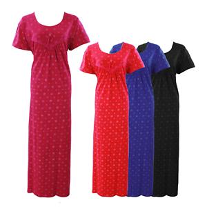 Ladies Nightwear Scoop Neck Floral100/% Cotton Short Sleeve Long Nightdress  18-2