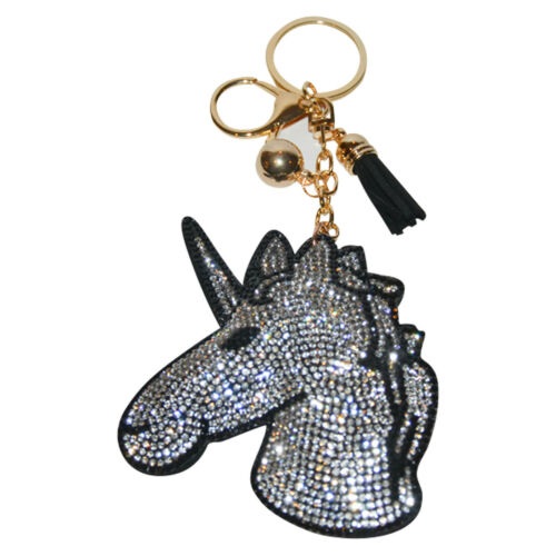 Details about  /Unicorn Key Chain Women Crystal Bag Charm Girls Backpack Clip Bling Purse Charm