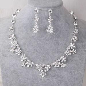 UK-Silver-Wedding-Bride-Crystal-Diamond-Flower-Necklace-Earrings-Set-Jewelry
