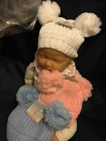 Baby Babies Bobble Hat Pink White Blue Boys Girls Winter Hat 12-24 Months Double