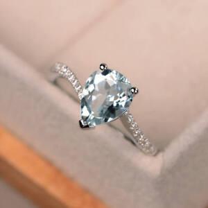14K Weiss Gold 1.63 Karat Birne Schliff Diamant Echt Aquamarin Ring Größe M n P