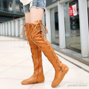 25e90f27d97 Womens Ladies Retro Knee High Boots PU Leather Shoes Flats Lace Up ...