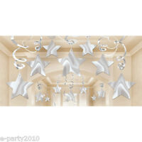 Silver Shooting Stars Foil Swirl Decorations (30) Birthday Party Supplies