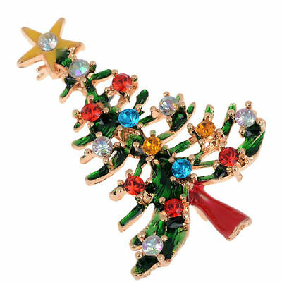 Enamel Gorgeous Rhinestone Crystal Christmas Tree Brooch Pin Holiday Party Gifts