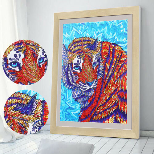 Special shaped diamond painting colorful tigers 5D DIY diamond embroidery decorH
