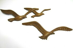Vintage-Seagulls-Birds-In-Flight-Faux-Wood-Wall-Plaques-Hangings-Mid-Century