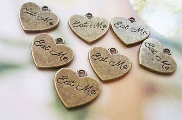 10 Eat Me Charms Heart Pendants Word Charms Tea Party Charms Word Charms