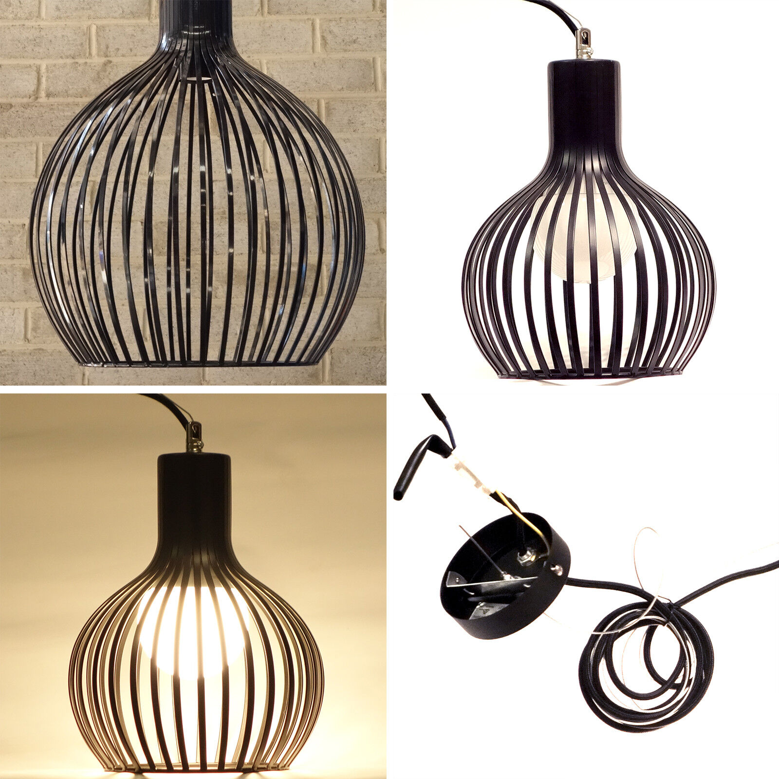 Sphere Style Black Wires Cage Light Small Large Pendant Lighting Ceiling Light Ebay