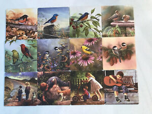 Lot-Of-12-2-Sided-Coasters-8-Bird-by-C-McClung-Sam-Timm-4-Boy-In-Overalls