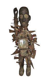 Grosse Afrika Juju Kongo Figur Fetisch Nkisi N`kondi Schutzzauber Art Kunst