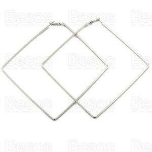OVERSIZE SQUARES large metal hoops STATEMENT EARRINGS SILVER/GOLD TONE UK GIFT