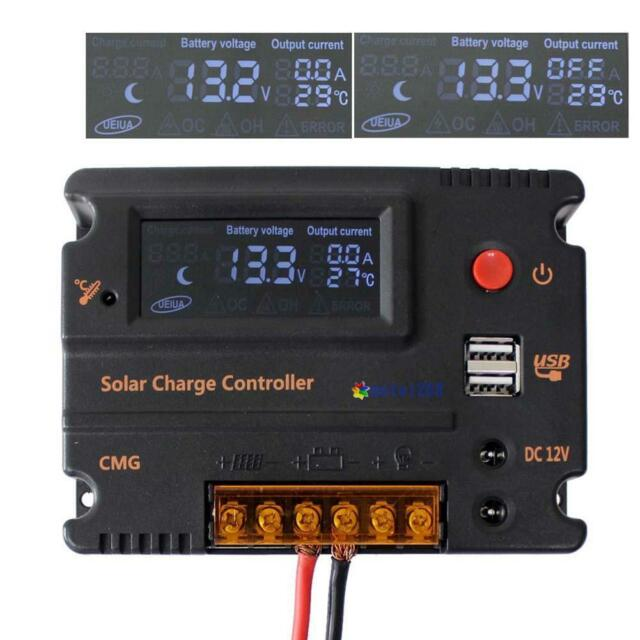 20A LCD Solar Panel Battery Regulator Charge Controller 12V 24V Auto Switch MT
