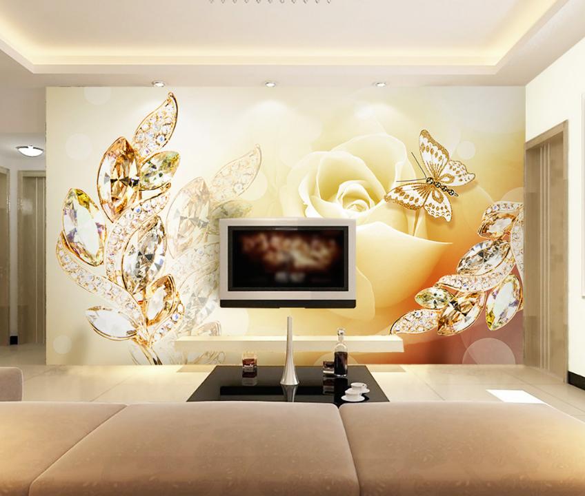 Papel Pintado Mural De Vellón Mariposas Rose De Gemas 2 Paisaje Fondo Pantalla