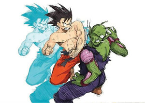 STICKER POSTER MANGA DRAGON BALL Z DECO .SANGOKU-SONGO<wbr/>KU VS DEMON PICCOLO. A4