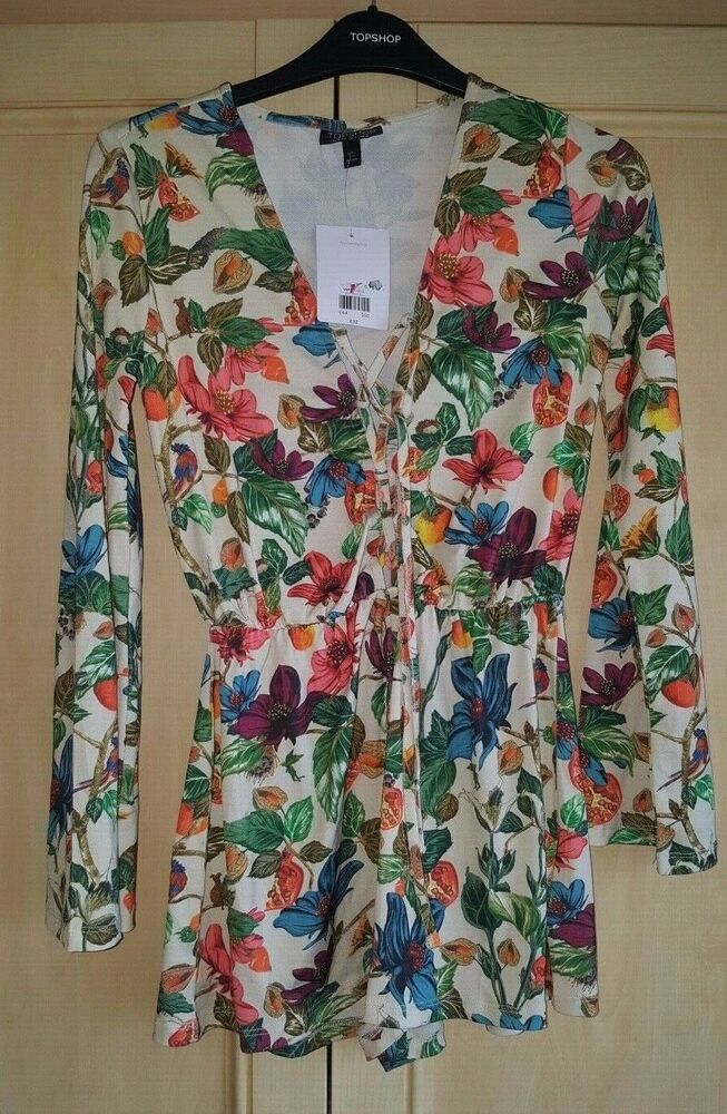 Bnwt Topshop Floral Beige Combi Taille 6