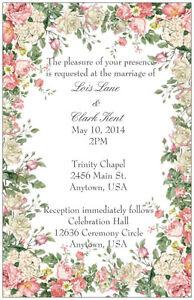 50-100-Vintage-FLORAL-Shabby-Chic-WEDDING-Personalized-Invitations-Custom