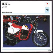 1987 Honda 250cc FTR (249cc) Japan Bike Motorcycle Photo Spec Sheet Info Card