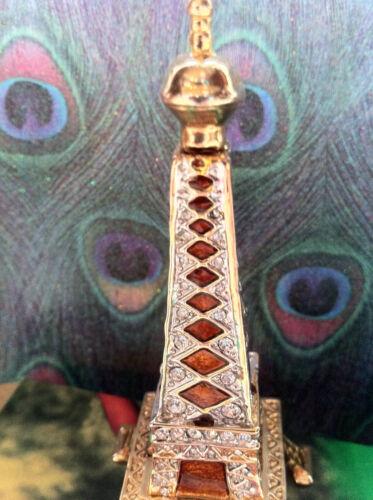 EIFFEL TOWER  ~ BEJEWELED ENAMEL TRINKET BOX  WITH  CRYSTALS