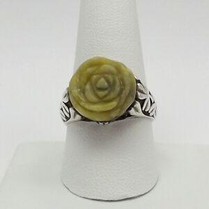 Vintage carved pink flower and enamel statement sterling ring