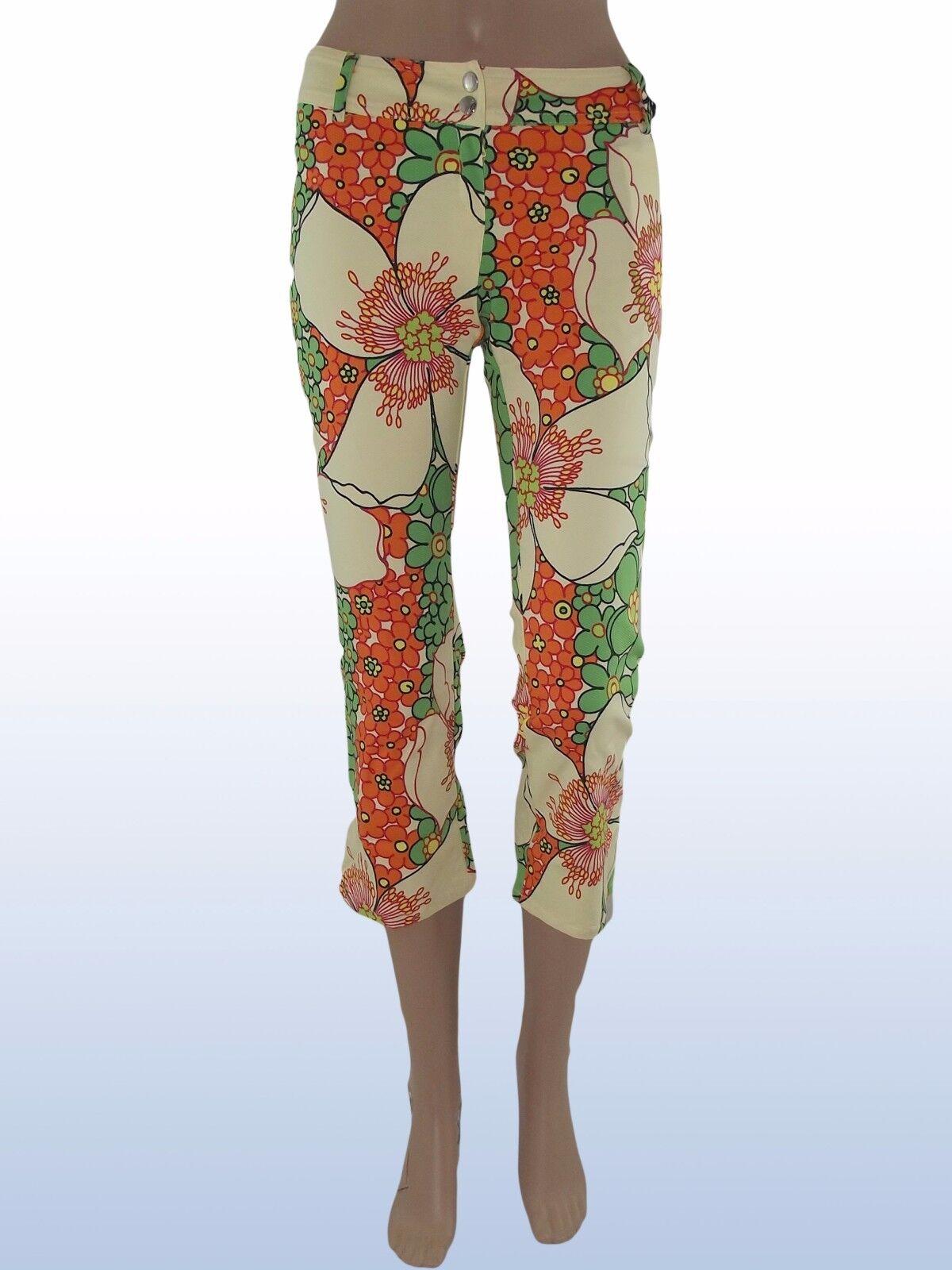 Pantalone capri floreale raro DENNY pink made italy tg s small nwt