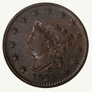 Raw-1827-Coronet-Head-1C-N-7-US-Copper-Large-Cent