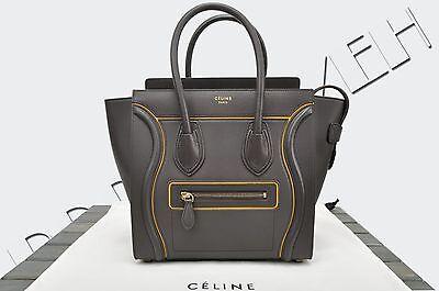 c0fd5d1b6b CELINE PARIS Authentic New Micro Luggage Tote Bag Interstice Dark Taupe  Leather