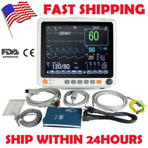 """12.1"""" Portable Patient Monitor Touch 6Paras Vital Signs ECG NIBP RESP TEMP SPO2"""