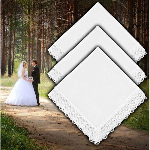 Bride Bridal Party Lace Border Handkerchief Wedding Favour Gift Bridesmaid Plain