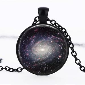 MILKY WAY Galaxy verre noir cabochon Chaîne Collier Sautoir Pendentif Wholesale