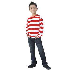 Child Long Sleeve Wheres Waldo Striped Red White Costume Shirt Top Girl Boy S-XL