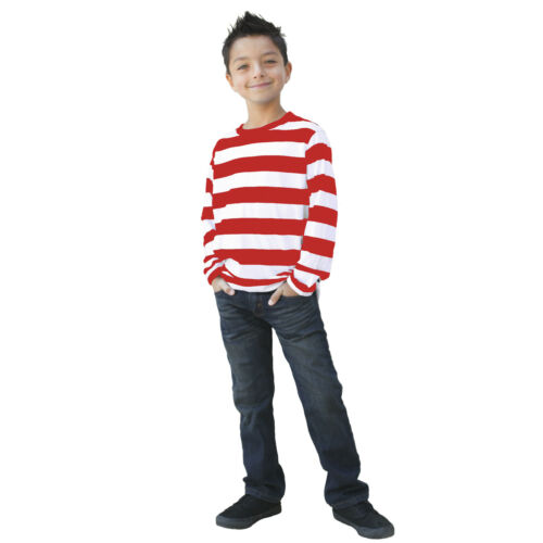 Details about  /Child Long Sleeve Wheres Waldo Striped Red White Costume Shirt Top Girl Boy S-XL