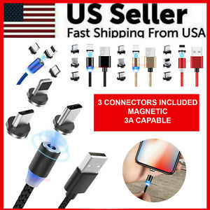 3-in-1-Magnetic-Fast-Charging-USB-Cable-Charger-3A-For-IPhone-Type-C-Micro-USB
