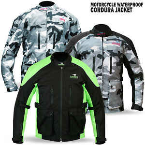 New-Mens-Motorcycle-Waterproof-Cordura-Textile-Jacket-Motorbike-Camo-Hiviz-Green
