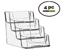 4 Acrylic Plastic Business Card Holder Displays Deflecto Style Clear 4 Pocket