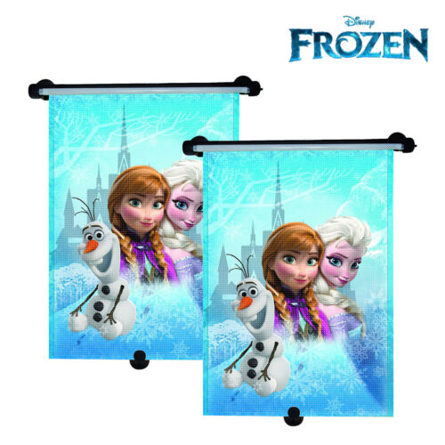 2 X DISNEY FROZEN PRINCESS ELSA CAR WINDOW ROLLERS BLINDS SUN SHADES UV BLOC NEW